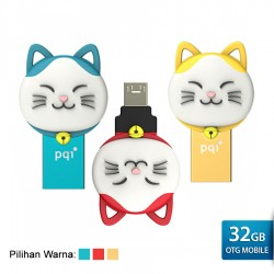 PQI Connect 303 Lucky Cat OTG Flashdisk Karakter Kucing - 32GB