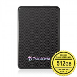 Transcend SSD Eksternal ESD400 - 512GB Portable USB 3.0 - Hitam