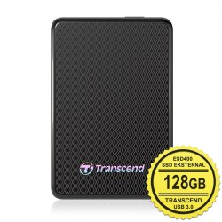 Transcend SSD Eksternal ESD400 - 128GB Portable USB 3.0 - Hitam