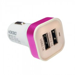 Car Charger 2 USB Port 3.1 A Power Adapter Square Head- Putih