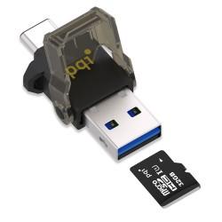 Pqi Connect 312 Type-C USB 3.1 OTG Reader Lector Micro SD - Hitam