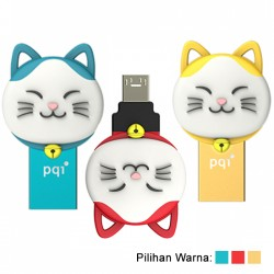 PQI Connect 303 Lucky Cat OTG Flashdisk Karakter Kucing - 16GB