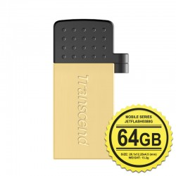 Transcend JetFlash 380G Flashdisk Mobile OTG - 64GB Gold