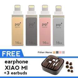 Pqi iConnect Mini Flashdisk OTG Lightning Apple & USB 3.0 - 16GB + FREE Earphone Xiaomi