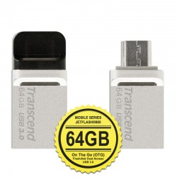 Transcend JetFlash 880S Flashdisk Mobile OTG USB3.0 - 64GB Silver