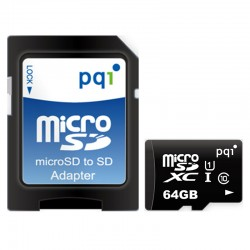 PQI Micro SDXC UHS-1 Class 10 Kartu Memori 64GB + Adapter