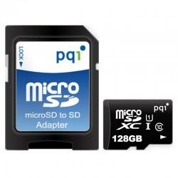 PQI Micro SDXC UHS-1 Class 10 Kartu Memori 128GB + Adapter