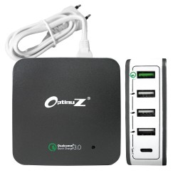 OptimuZ QC-020PT 5 Port USB Quick Charge 3.0 Charger 40W + Type C - Grey-White