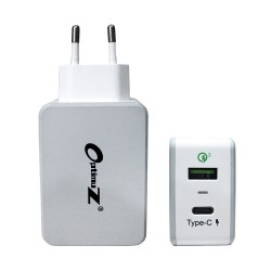OptimuZ QC-030PT 2 Ports Quick Charge 3.0 Wall Charger 33W + Type-C - White