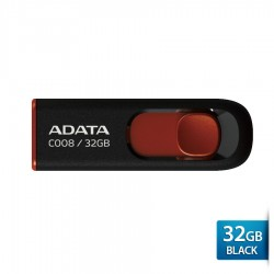 ADATA C008 - Flashdisk USB Capless Sliding - 32GB Hitam-merah