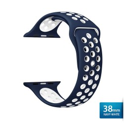 OptimuZ Sport Nice Watch Band Strap Breathable Silicone for Apple Watch - 38mm Navy-white
