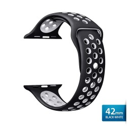 OptimuZ Sport Nice Watch Band Strap Breathable Silicone for Apple Watch - 42mm Black-white