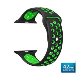 OptimuZ Sport Nice Watch Band Strap Breathable Silicone for Apple Watch - 42mm Black-green