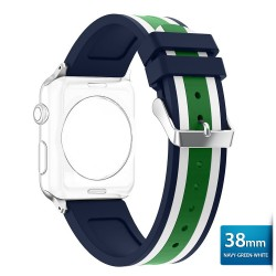 OptimuZ Sport Dual Tone Watch Band Strap Silicone for Apple Watch - 38mm Navy-green-white