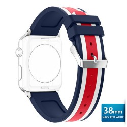 OptimuZ Sport Dual Tone Watch Band Strap Silicone for Apple Watch - 38mm Navy-red-white