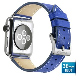 OptimuZ Premium Genuine Italy Leather Watch Band Strap for Apple Watch - 38mm Blue