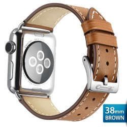 OptimuZ Premium Genuine Italy Leather Watch Band Strap for Apple Watch - 38mm Cokelat