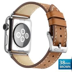 OptimuZ Premium Genuine Italy Leather Watch Band Strap for Apple Watch - 38mm Cokelat