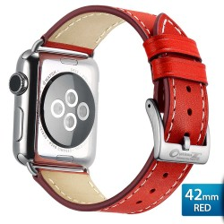 OptimuZ Premium Genuine Italy Leather Watch Band Strap for Apple Watch - 42mm Red
