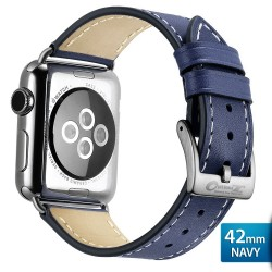 OptimuZ Premium Genuine Italy Leather Watch Band Strap for Apple Watch - 42mm Navy Blue