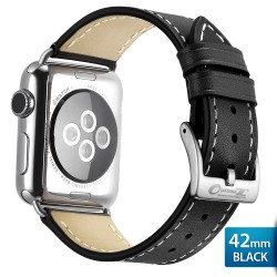 OptimuZ Premium Genuine Italy Leather Watch Band Strap for Apple Watch - 42mm Black