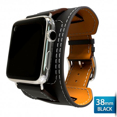 OptimuZ Premium Leather Cuff Bracelets Watch Band Strap for Apple Watch - 38mm Black