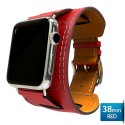 OptimuZ Premium Leather Cuff Bracelets Watch Band Strap for Apple Watch - 38mm Red