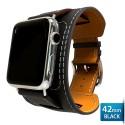 OptimuZ Premium Leather Cuff Bracelets Watch Band Strap for Apple Watch - 42mm Black