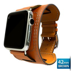 OptimuZ Premium Leather Cuff Bracelets Watch Band Strap for Apple Watch - 42mm Brown