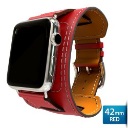 OptimuZ Premium Leather Cuff Bracelets Watch Band Strap for Apple Watch - 42mm Red