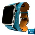 OptimuZ Premium Leather Cuff Bracelets Watch Band Strap for Apple Watch - 42mm Blue