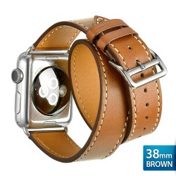 OptimuZ Premium Double Tour Leather Watch Band Strap for Apple Watch - 38mm Brown