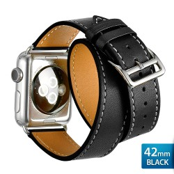 OptimuZ Premium Double Tour Leather Watch Band Strap for Apple Watch - 42mm Black