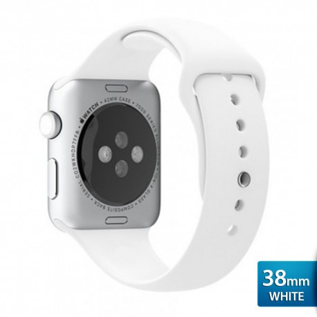 OptimuZ Premium Sport Silica Watch Band Strap for Apple Watch - 38mm White